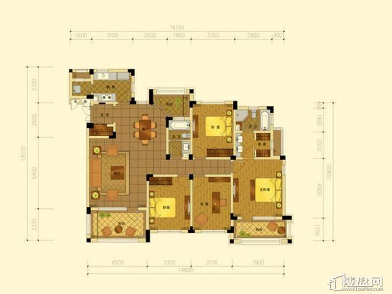 绿城蓝庭地中海庭院洋房160方户型3室2厅2卫1厨