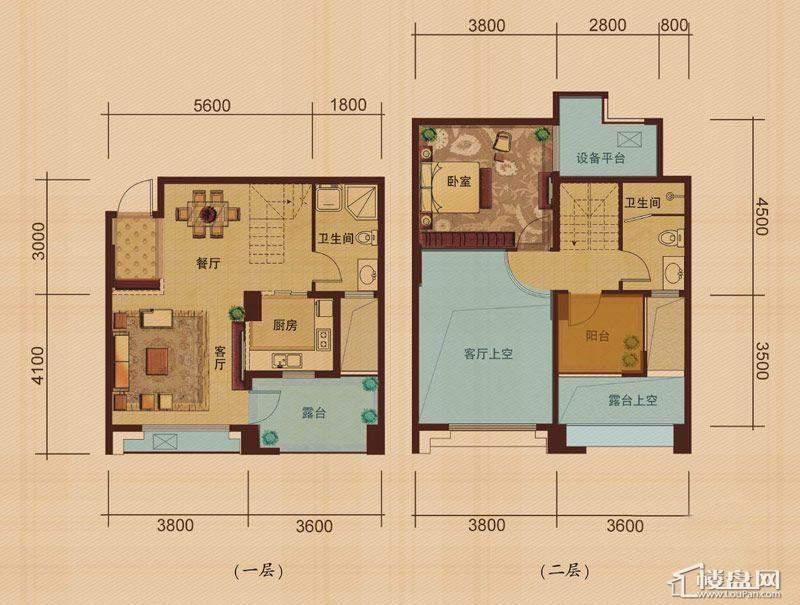 东田擎天半岛Y-C户型2室2厅2卫1厨