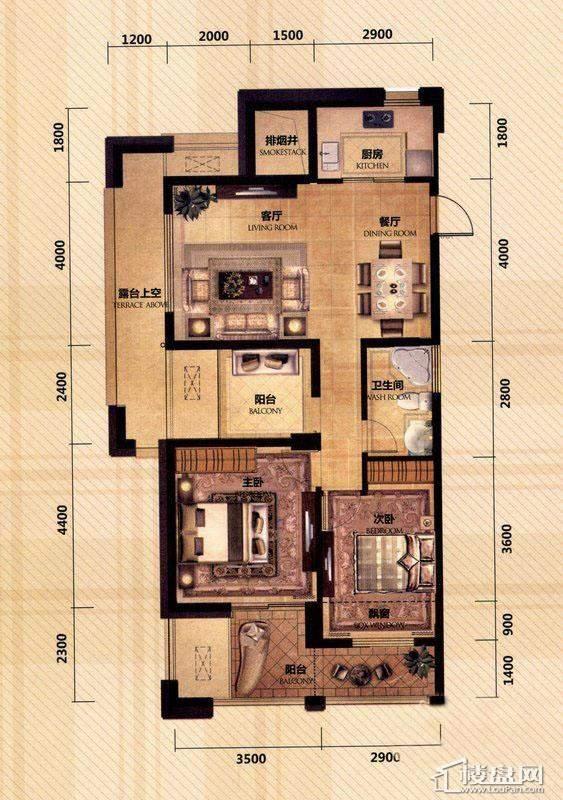 东田擎天半岛一期G4号楼奇数层C户型2室2厅1卫1厨