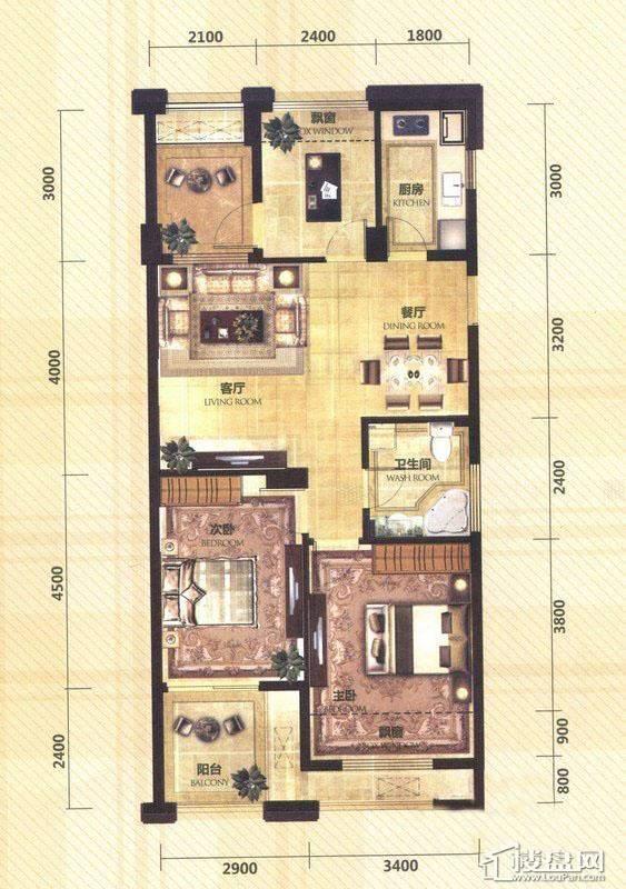 东田擎天半岛一期G4号楼奇数层E户型3室2厅1卫1厨