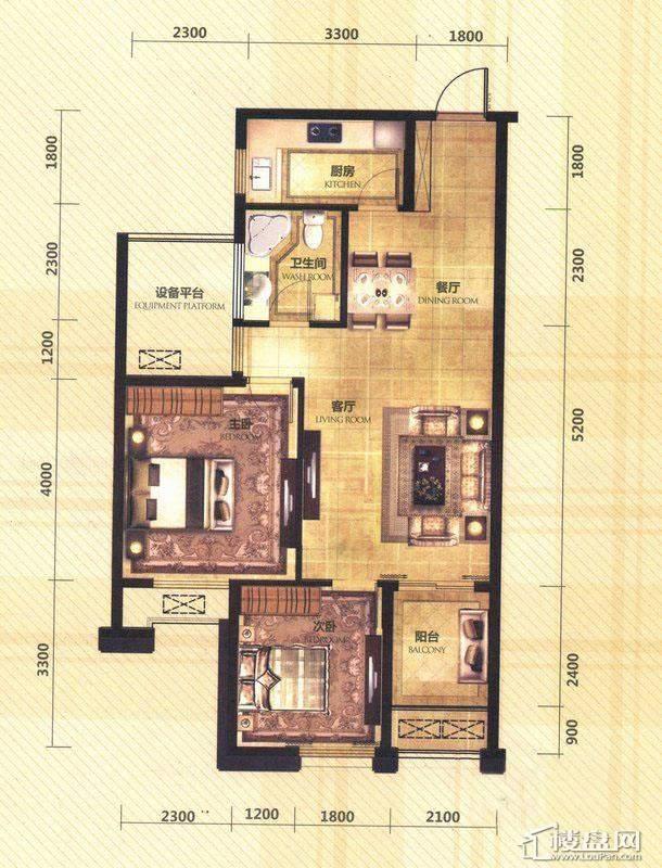 东田擎天半岛一期G4号楼标准层D-1户型2室2厅1卫1厨