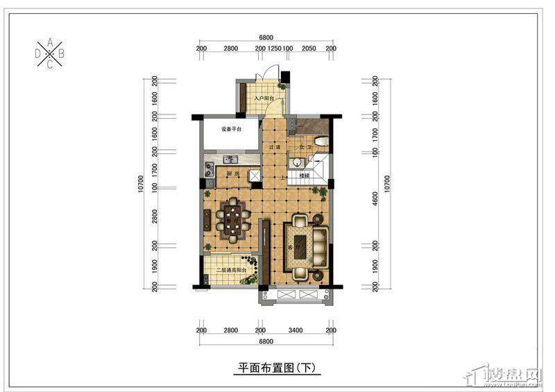 野风珑园跃层(B户型下)2厅1卫1厨