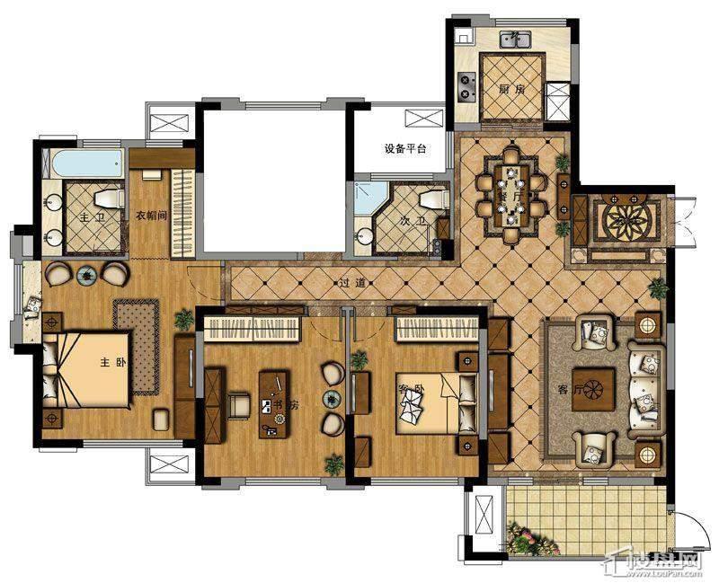 野风珑园标准户型图3室2厅2卫1厨