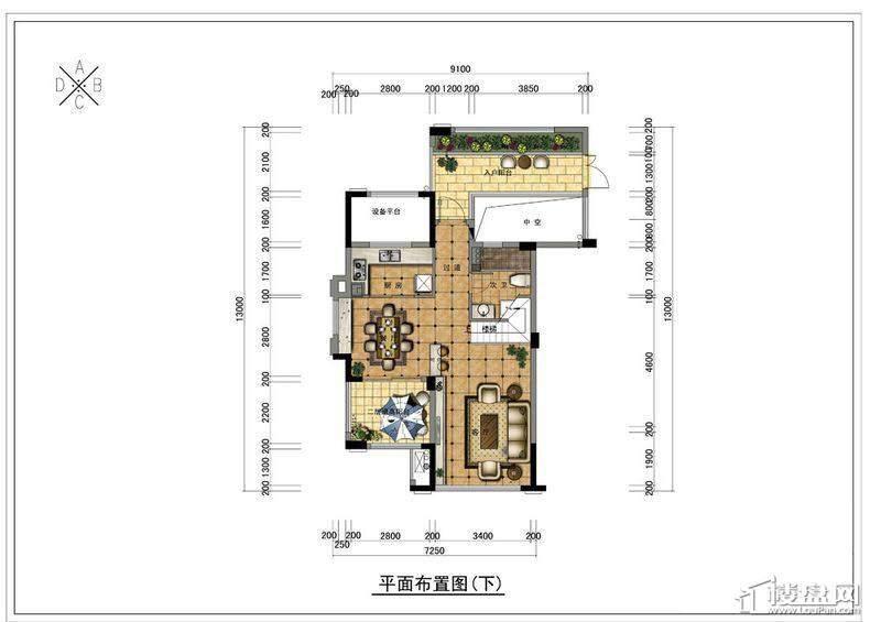 野风珑园跃层(A户型下)2厅1卫1厨