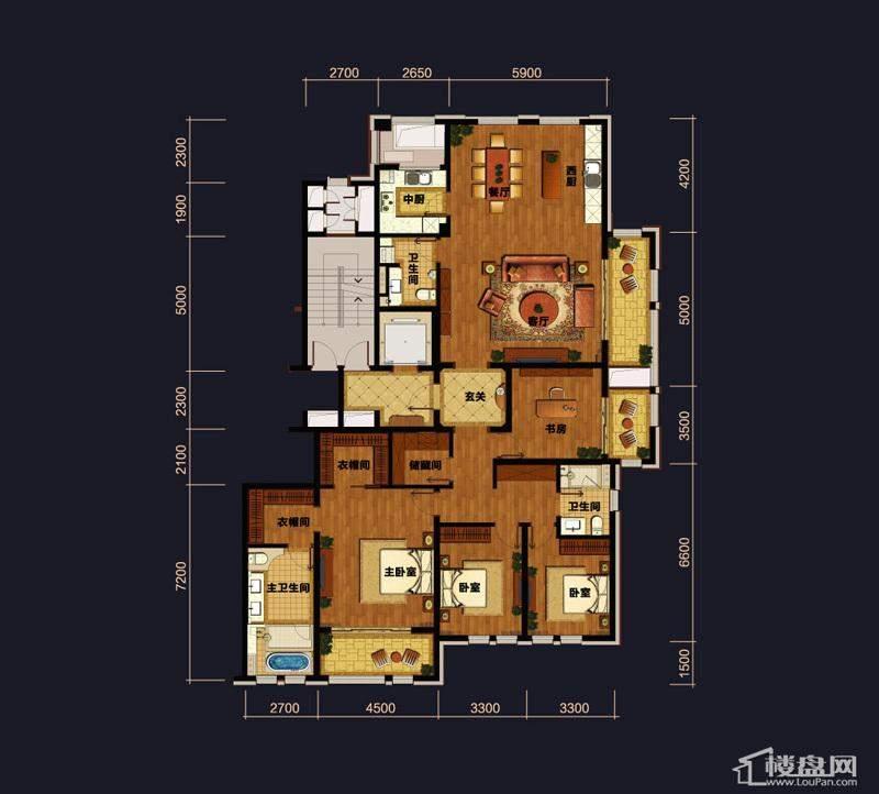 万科草庄A3户型4室2厅3卫1厨