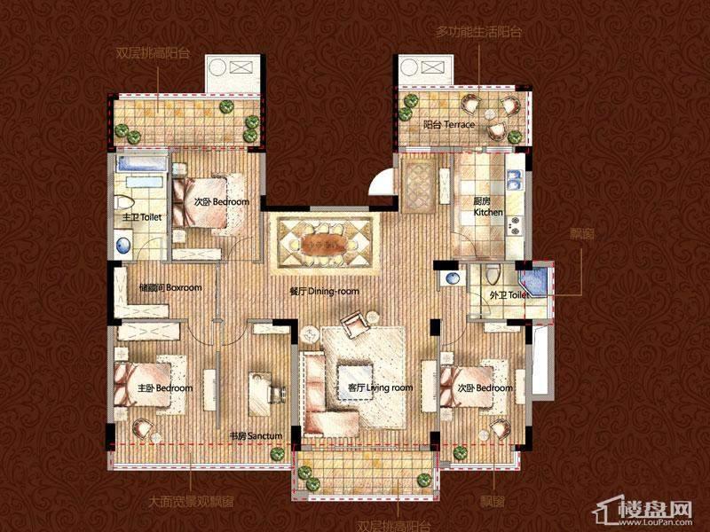 雅戈尔御西湖F(偶数层)-调整中4室2厅2卫1厨