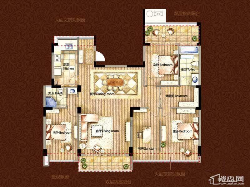 雅戈尔御西湖G(偶数层)-调整中4室2厅2卫1厨