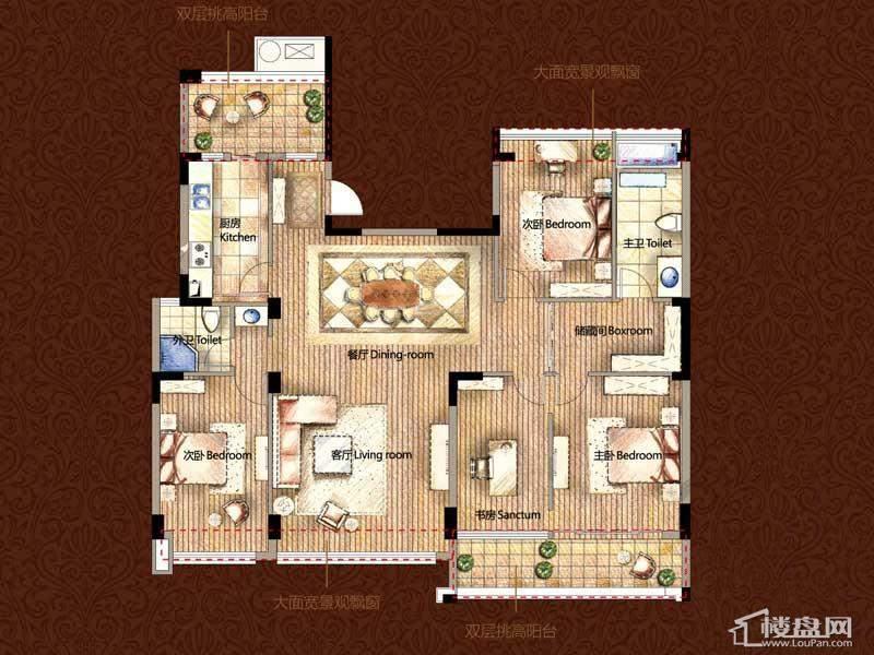 雅戈尔御西湖G(奇数层)-调整中4室2厅2卫1厨