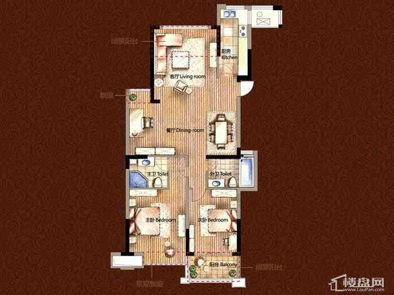 雅戈尔御西湖平层官邸c户型3室2厅2卫1厨
