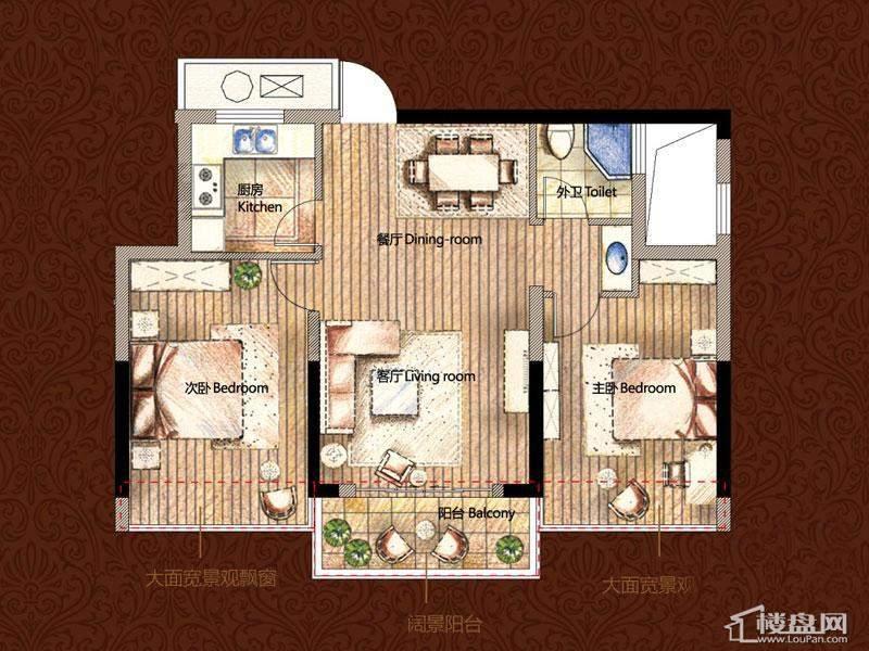 雅戈尔御西湖平层官邸d2户型2室2厅1卫1厨