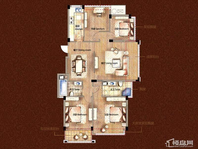 雅戈尔御西湖平层官邸奇数层e户型4室2厅2卫1厨