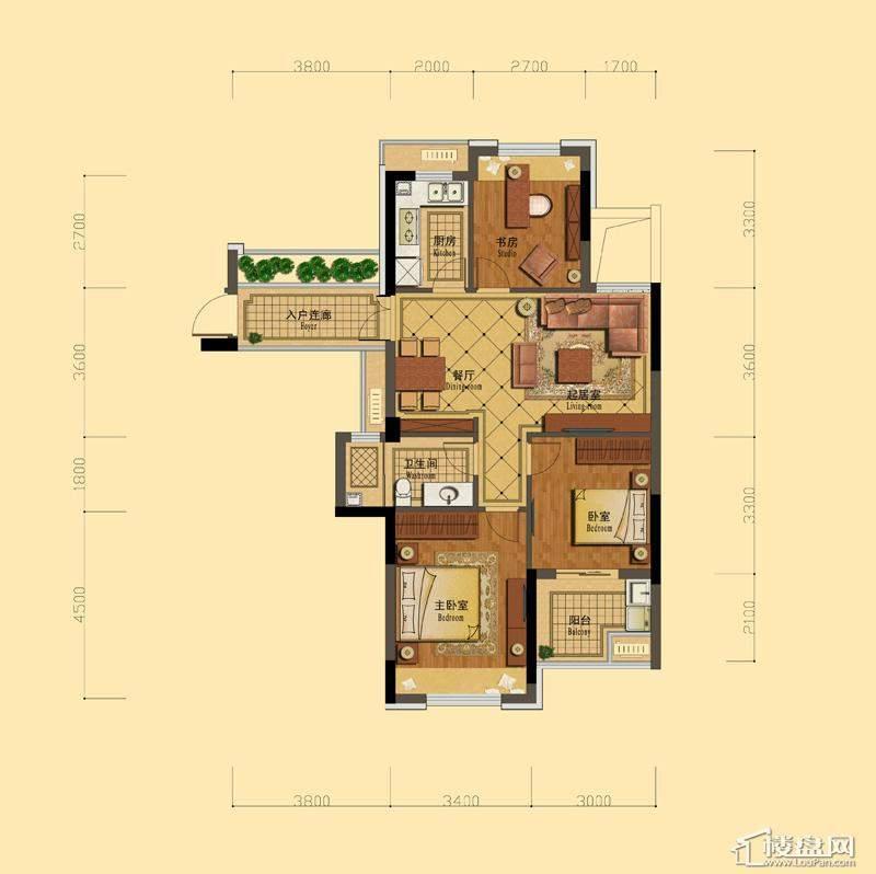 恒祺克拉公馆A1户型3室2厅1卫1厨