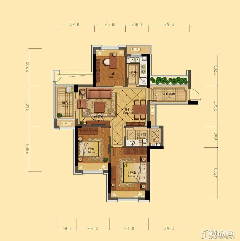 恒祺克拉公馆A2户型3室2厅1卫1厨