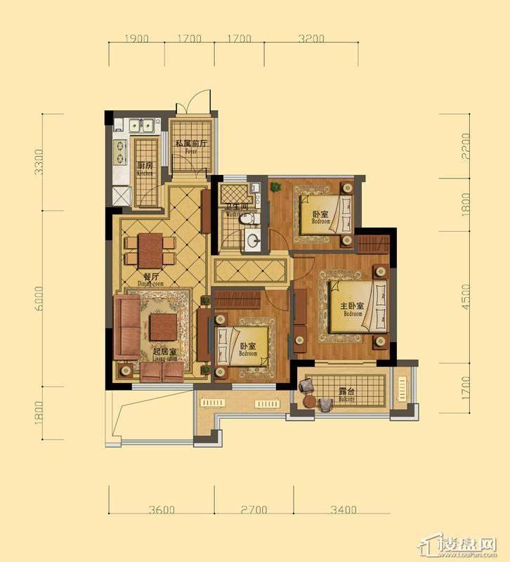 恒祺克拉公馆B户型3室2厅1卫1厨