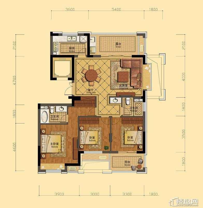 恒祺克拉公馆C1户型3室2厅2卫1厨