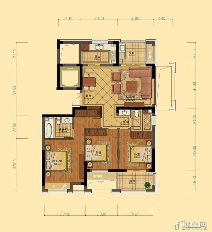 恒祺克拉公馆C2户型3室2厅2卫1厨