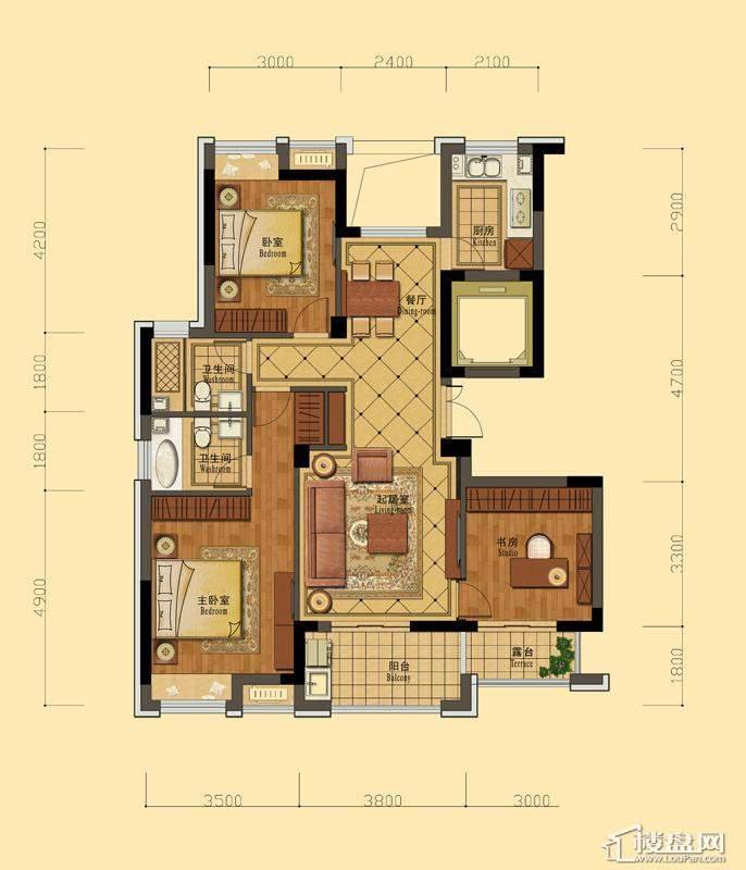 恒祺克拉公馆C3户型3室2厅2卫1厨