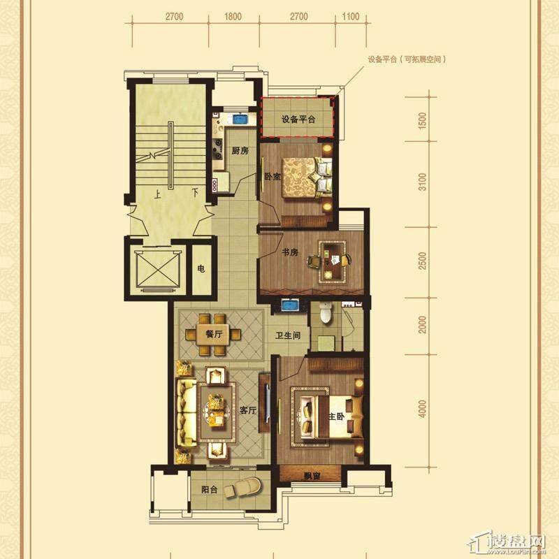 文溪鼎园A1-1户型3室2厅1卫1厨