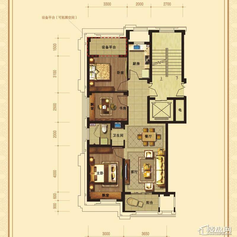 文溪鼎园A1-2户型3室2厅1卫1厨