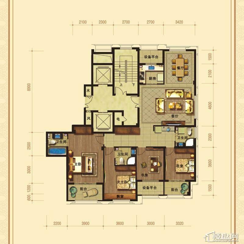 溪鼎园C-1户型4室2厅2卫1厨溪鼎园户型图