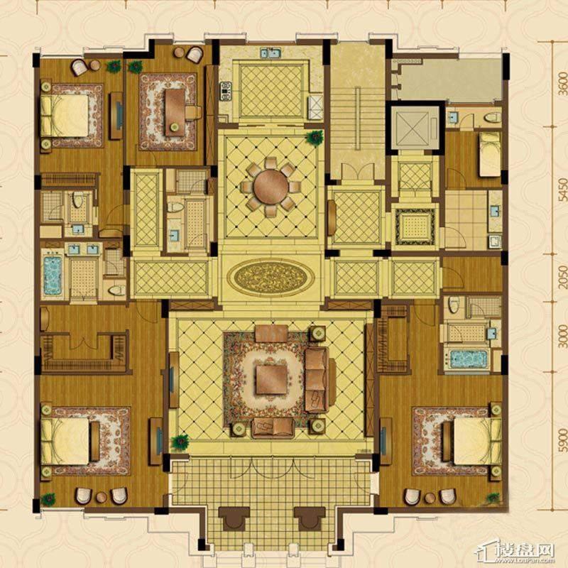 绿城西子杭州御园1#8#楼平层官邸A户型4室3厅5卫1厨
