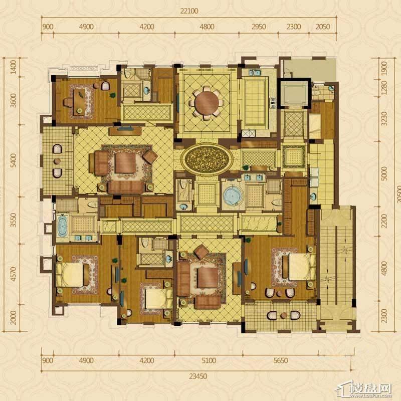 绿城西子杭州御园2#边套平层官邸B户型4室2厅4卫1厨 342.00㎡