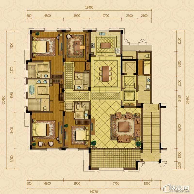 绿城西子杭州御园2#中间套平层官邸C户型4室2厅4卫1厨 349.00㎡