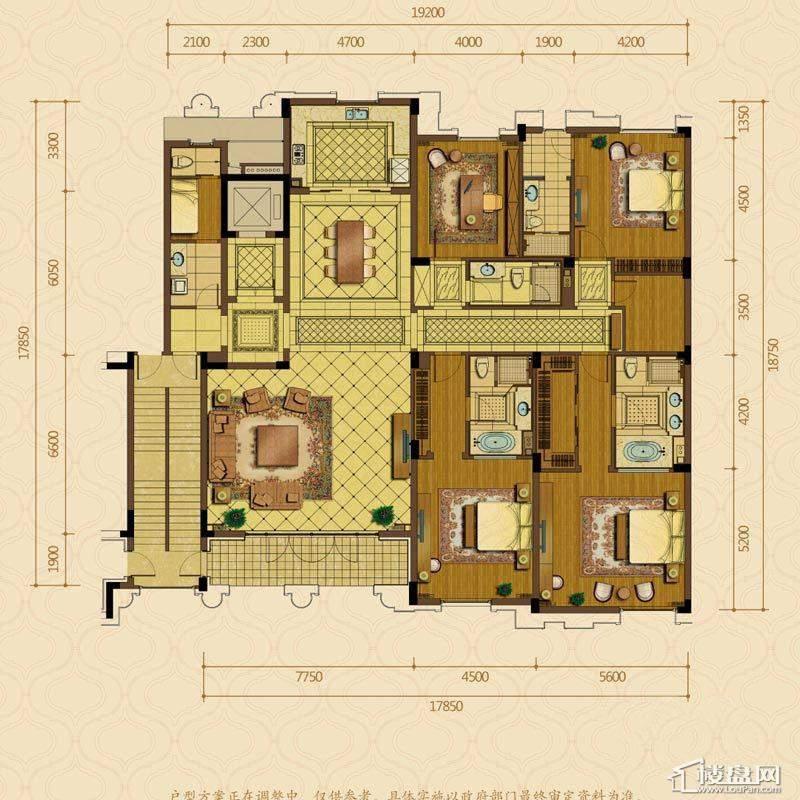 绿城西子杭州御园2#中间套平层官邸D户型4室2厅4卫1厨 366.00㎡