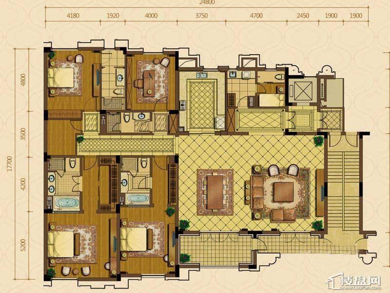 绿城西子杭州御园7#边套平层官邸E户型5室2厅4卫1厨 332.00㎡