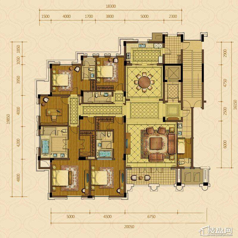 绿城西子杭州御园7#中间套平层官邸F户型4室2厅4卫1厨 329.00㎡