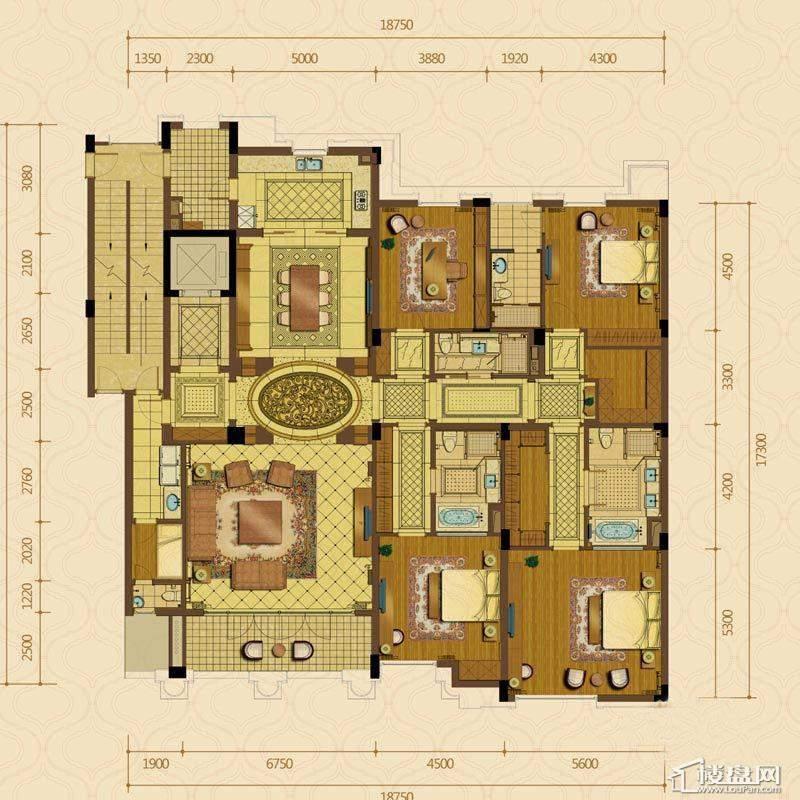 绿城西子杭州御园7#中间套平层官邸G户型4室2厅4卫1厨 381.00㎡