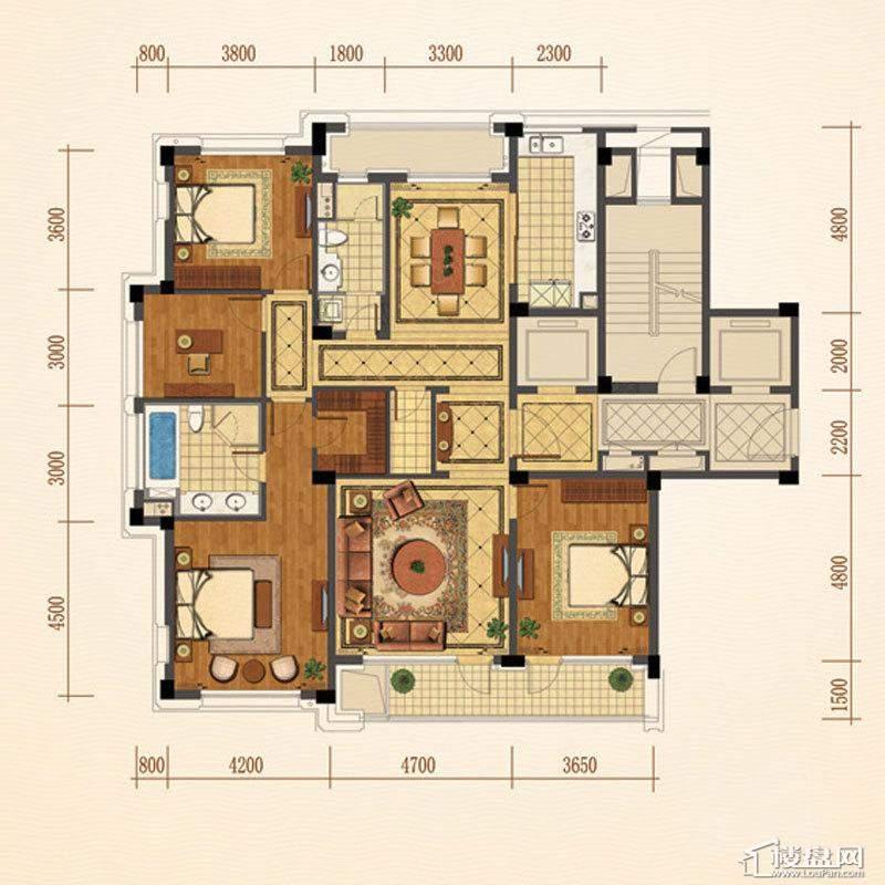 绿城西子紫兰公寓7号楼J户型4室2厅2卫1厨 186.00㎡