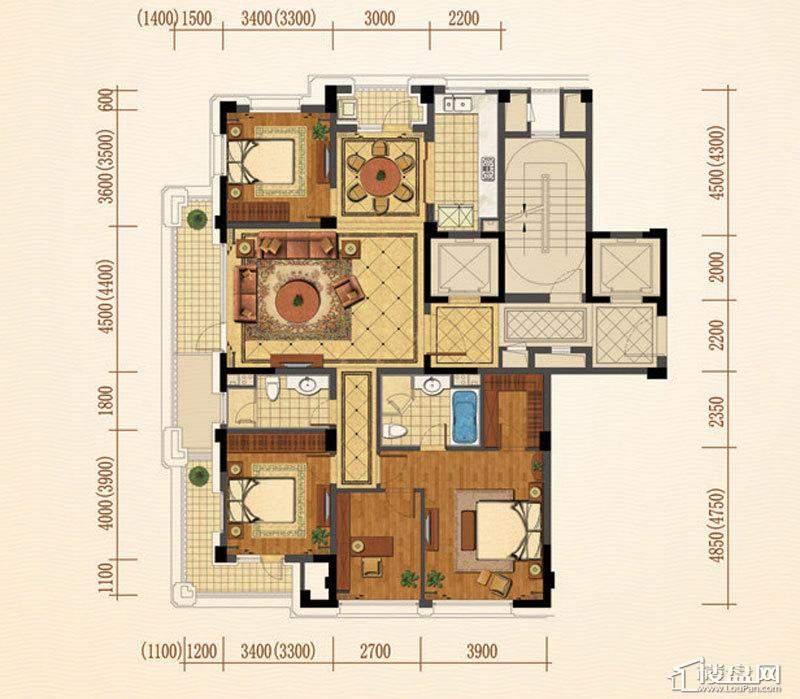 绿城西子紫兰公寓1、2、3号楼边套E户型4室2厅2卫1厨 163.00㎡