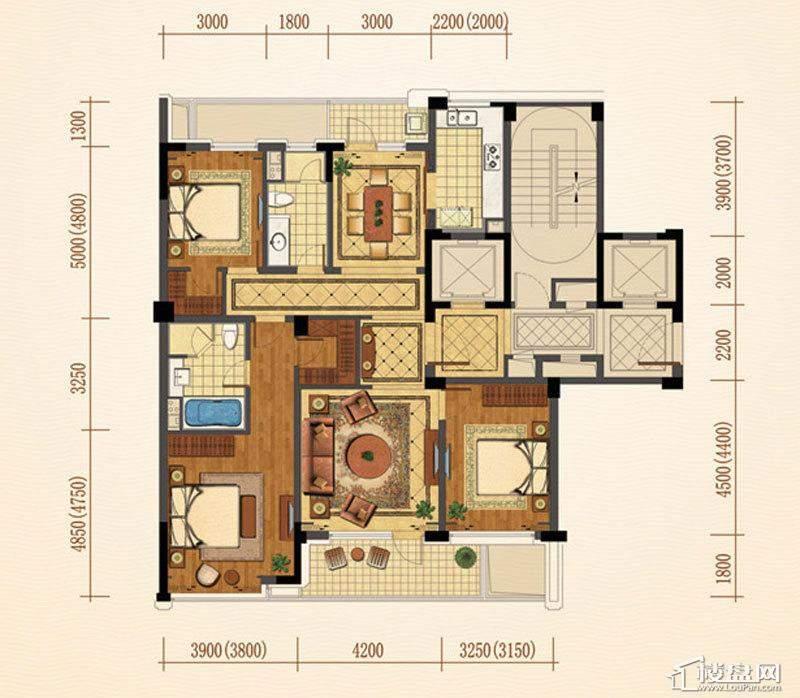 绿城西子紫兰公寓3号楼、1号楼中间套C户型3室2厅2卫1厨 151.00㎡