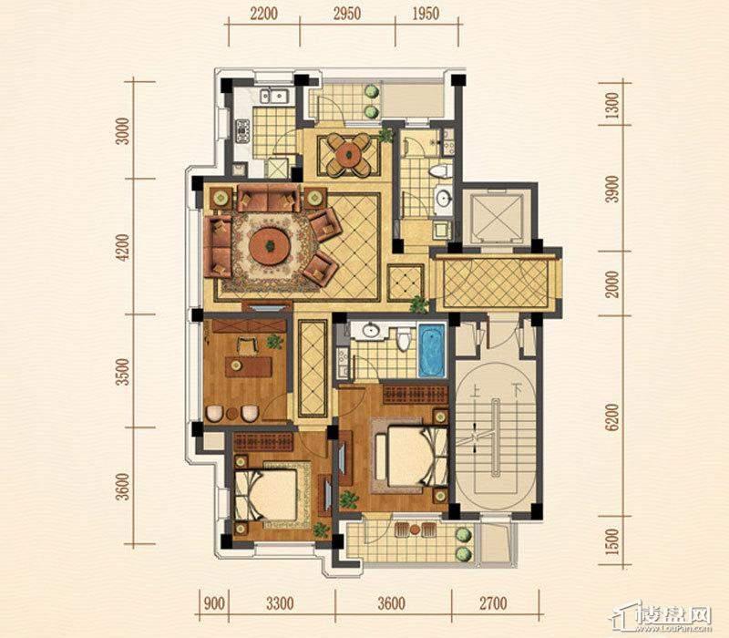 绿城西子紫兰公寓4号楼边套B户型3室2厅2卫1厨 121.00㎡