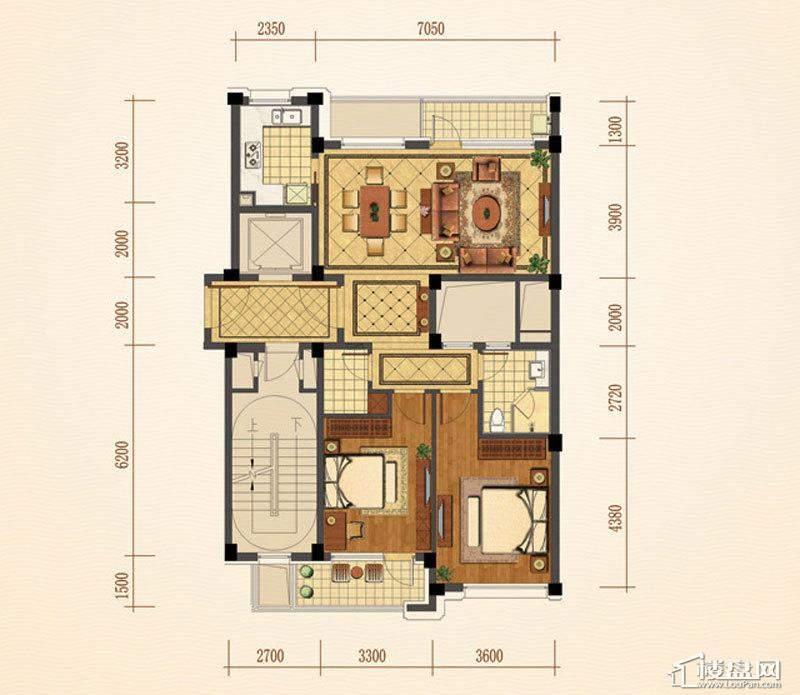 绿城西子紫兰公寓4号楼中间套A户型2室2厅1卫1厨 111.00㎡