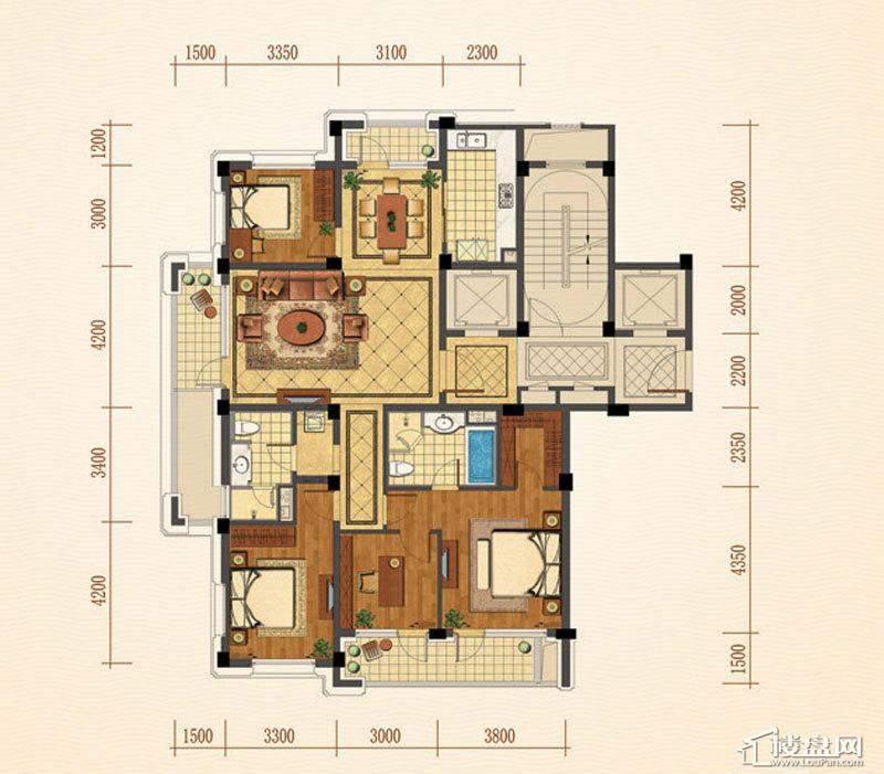 绿城西子紫兰公寓5号楼F户型4室2厅2卫1厨 164.00㎡