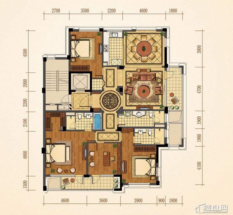 绿城西子紫兰公寓6号楼东边套K户型4室2厅2卫1厨 215.00㎡