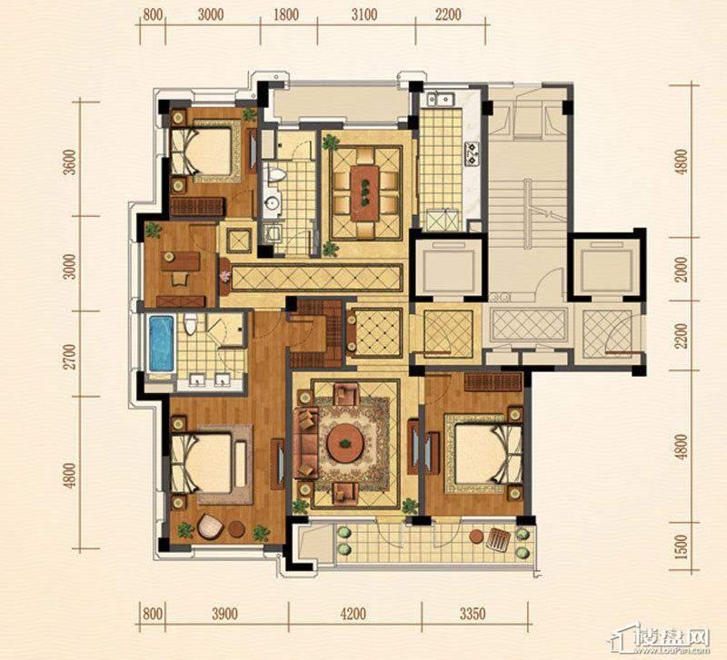 绿城西子紫兰公寓6号楼西边套G户型4室2厅2卫1厨 167.00㎡