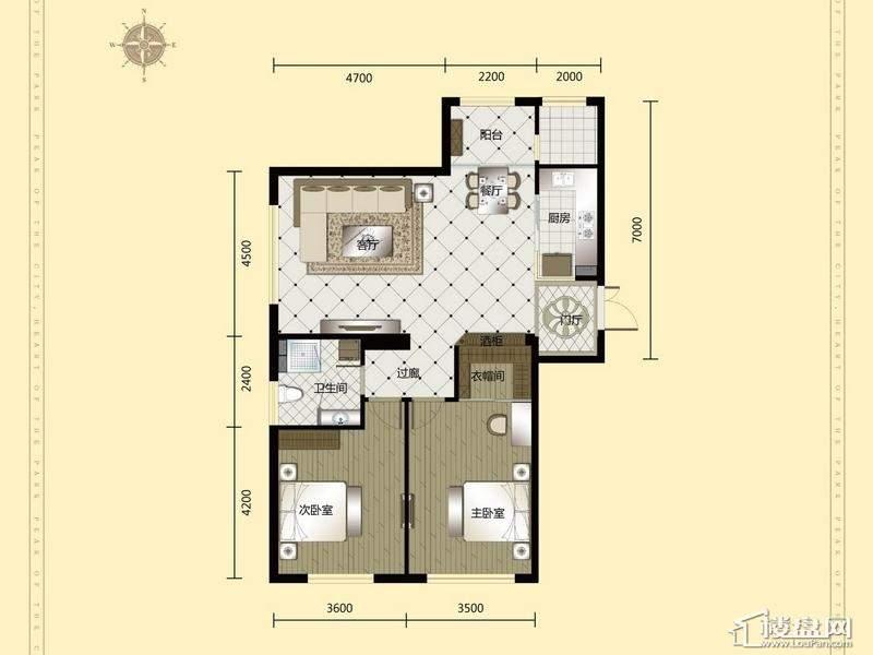 汇锦庄园高层户型G1-3-012室2厅1卫1厨