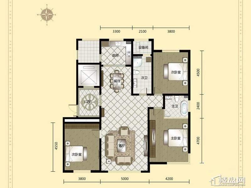 汇锦庄园高层户型G2-G3-013室2厅2卫1厨