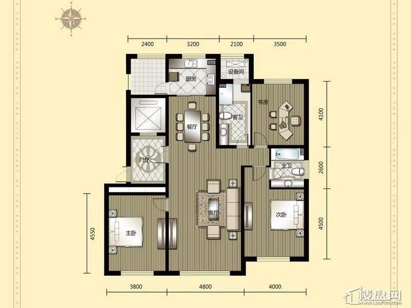 汇锦庄园高层户型G6-1-2-013室2厅2卫1厨