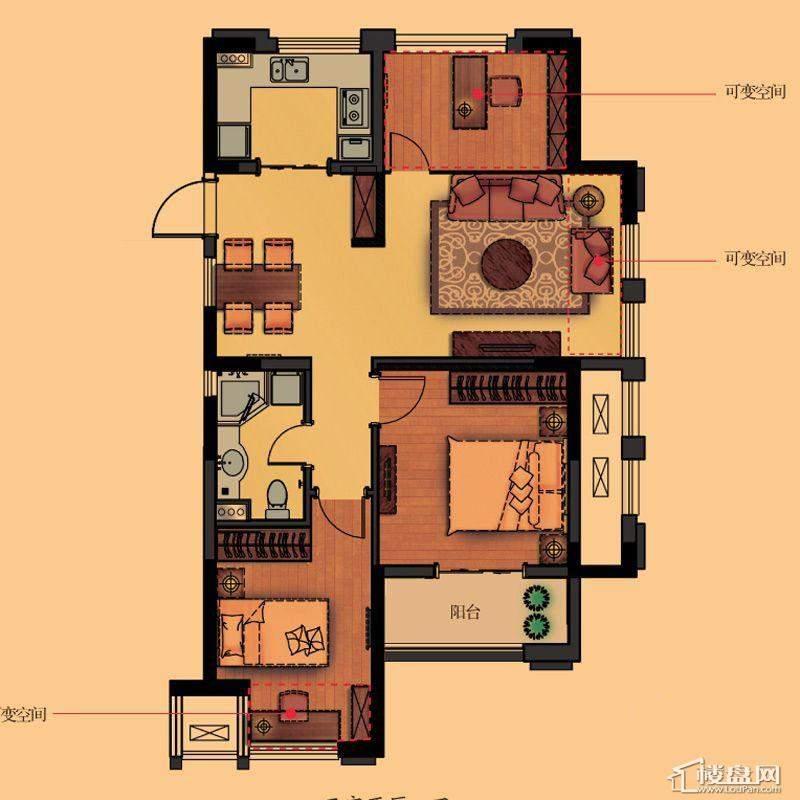 金都夏宫高层公寓荷苑B1户型3室2厅1卫1厨