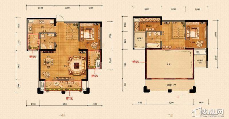 金帝海珀C户型图2室2厅2卫1厨