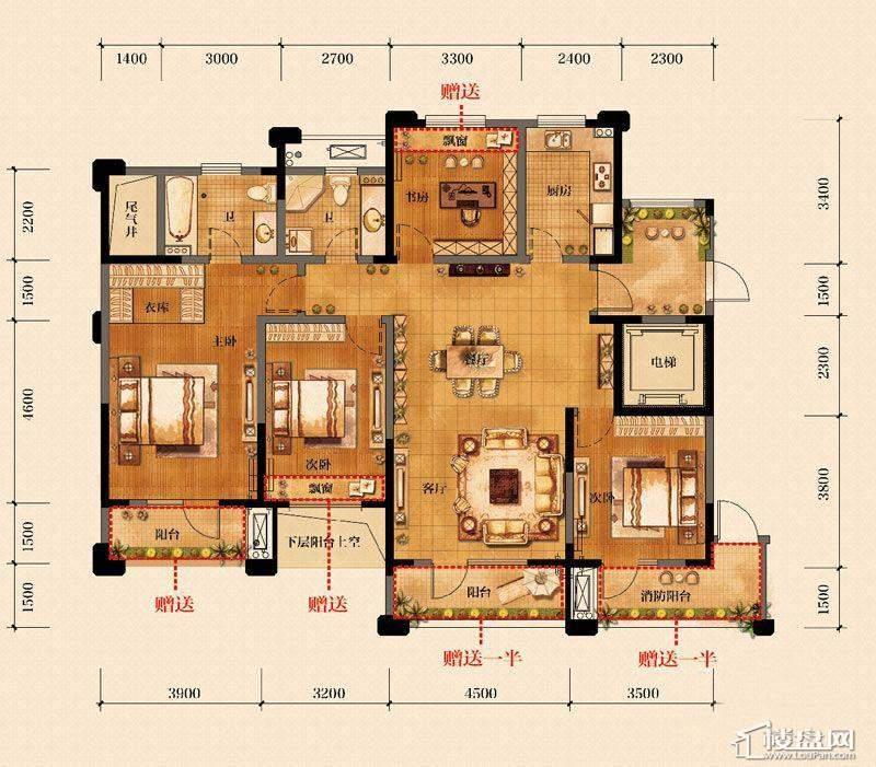 金帝海珀G户型偶数层4室2厅2卫1厨