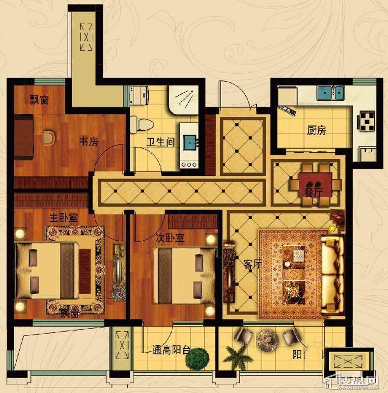 中国铁建国际城12号楼B-4(基数层)3室2厅1卫1厨 85.59㎡