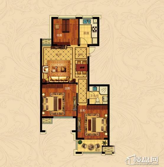 中国铁建国际城B-3(偶数层)3室2厅1卫1厨 88.00㎡