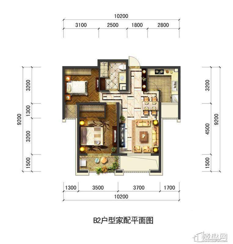 远洋大河宸章B2户型2室2厅1卫1厨 89.00㎡