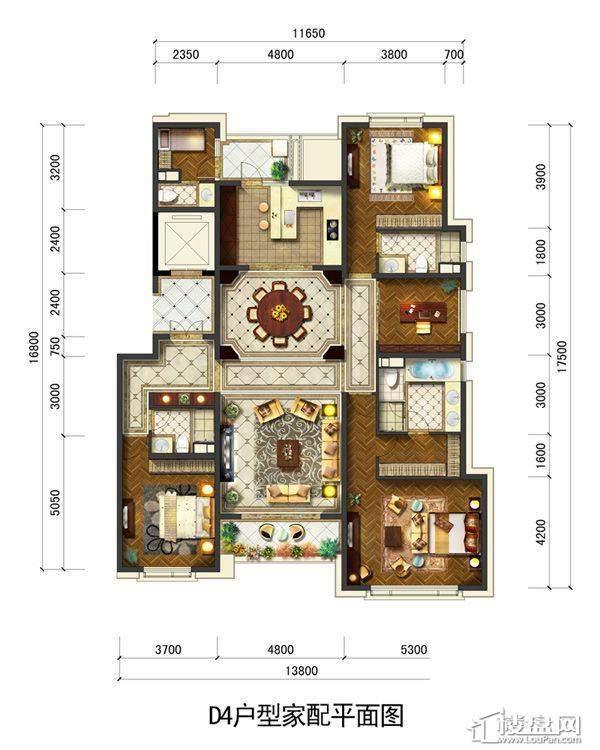 远洋大河宸章D4戶型4室2厅3卫1厨 223.00㎡