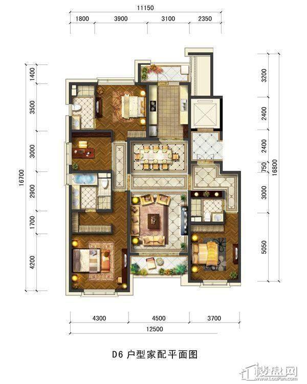 远洋大河宸章D6戶型4室2厅3卫1厨 196.00㎡
